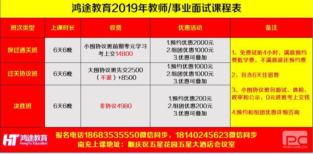 2019年南充教师公招/事业单位面试课程